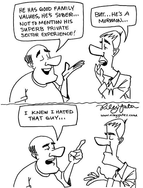 Mitt Romney cartoon, Anti-Mormon cartoon, Mormons, Bigotry cartoon
