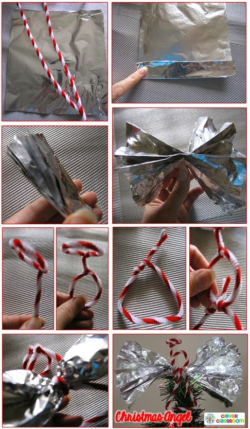 Tin Foil Angels Christmas tree decorations craft for kids