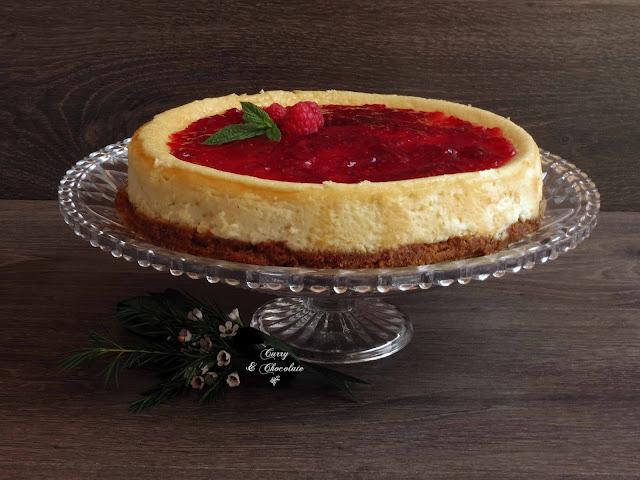 Tarta rústica de queso con mermelada de frambuesa  - Raspberry cheesecake