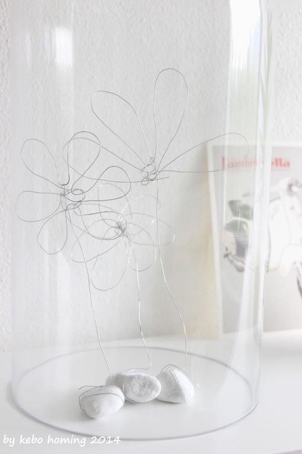 Fette Henne, Blumen, Dekoration, DIY aus Silberdraht