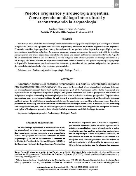 Pueblos Originarios y arqueología argentina. Felix Acuto y Carlos Flores.