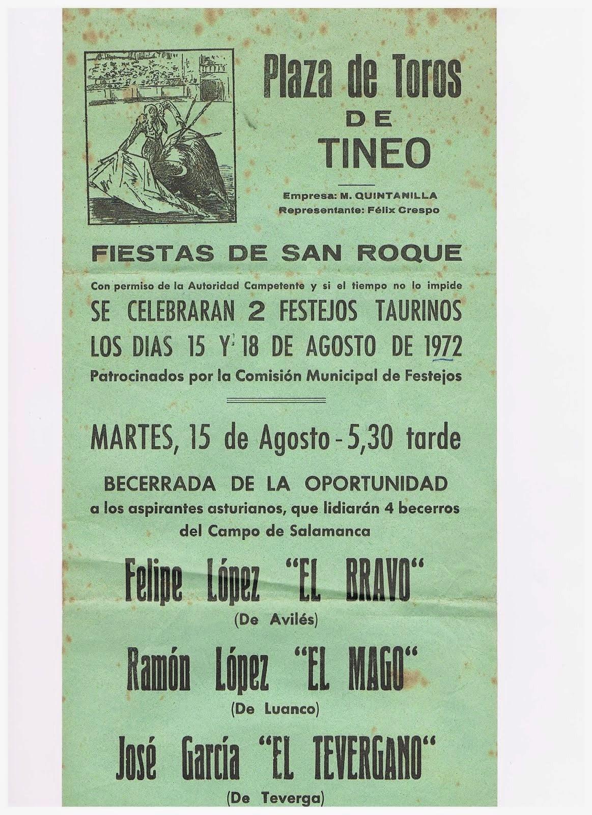 CARTEL DE TOROS DE TINEO