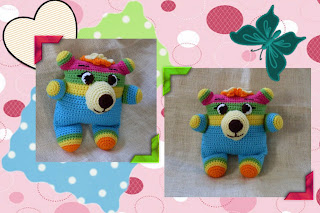 big eyes, batting eyelashes, neon colors, too cute crochet amigurumi bear