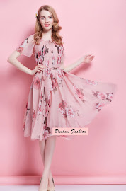 Big Flare Short Sleeve Midi Chiffon Dress