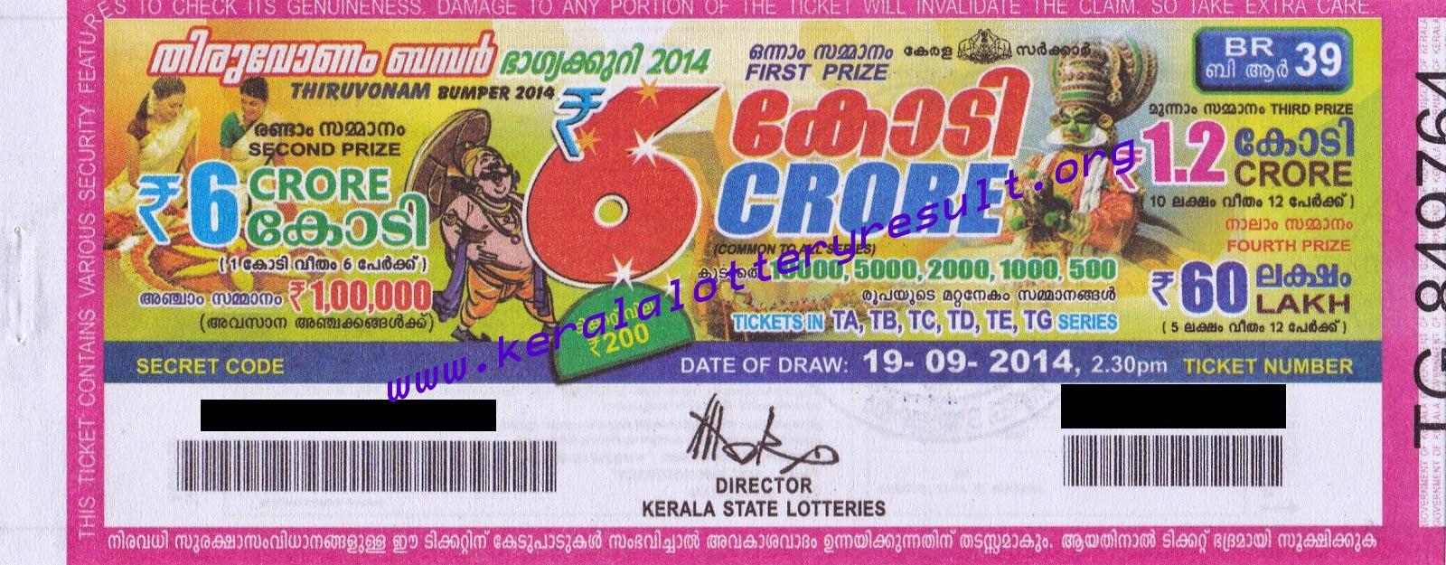 Kerala State Thiruvonam Bumper Lottery