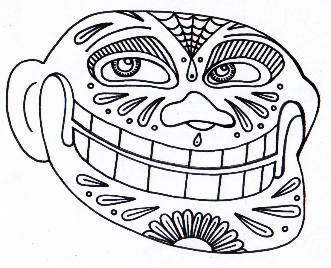 coloring pages dia de los troll - De Los Muertos Coloring Pages