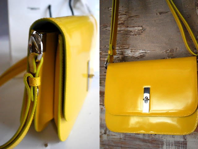 TOSCA BLUE - YELLOW SHOULDER BAG - YELLOW PURSE - ITALIAN LEATHER