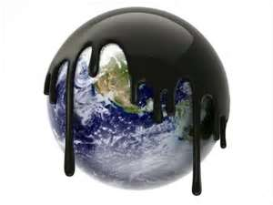 Planet Earth covered in polluting Oil