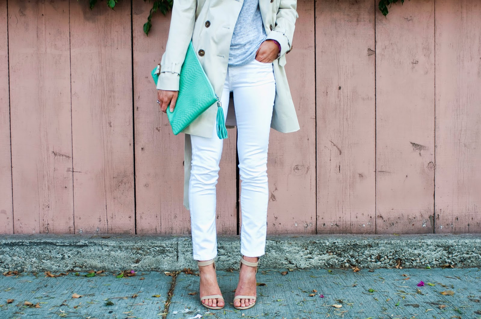 mint-clutch-with-trench-coat