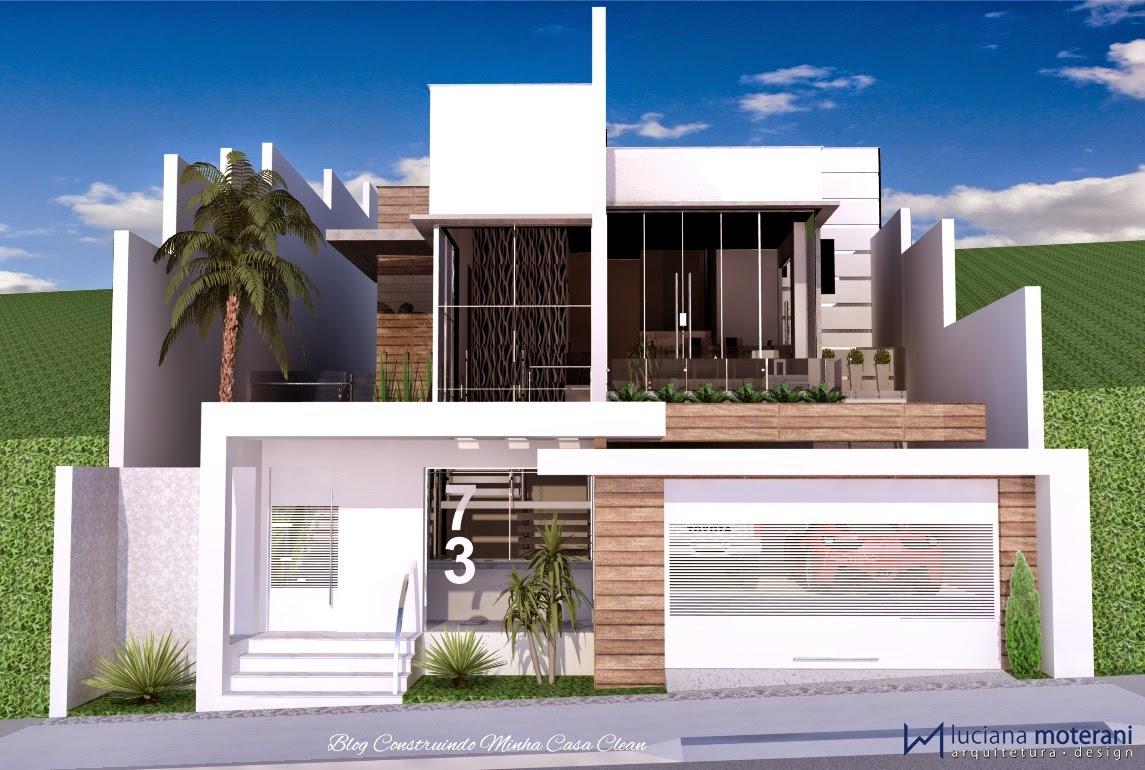 Construindo minha casa clean fachadas de casas com muros for Casa moderna numero 2