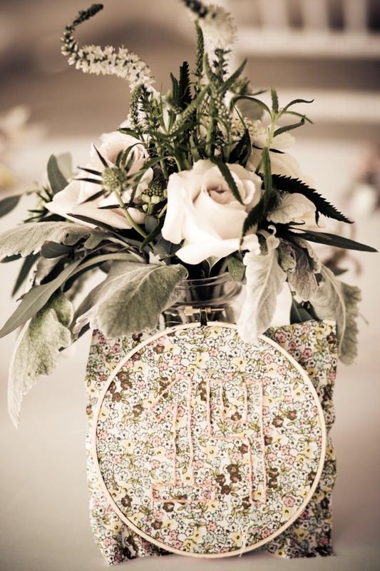 Courtenay Lambert Florals, Cincinnati Wedding florist.  Centerpieces of Mason jars with Quicksand Roses, Scabiosa Flower, Dusty Miller, Seeded Eucalyptus, Astilbe, Veronica, Balsa Wood Sola Tapioca flowers, Juliet Garden Rose.