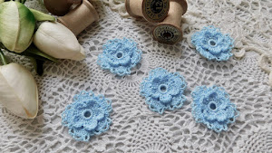 Hand Crocheted Blue Raspberry Small Flowers - Set of 5 - $9.50