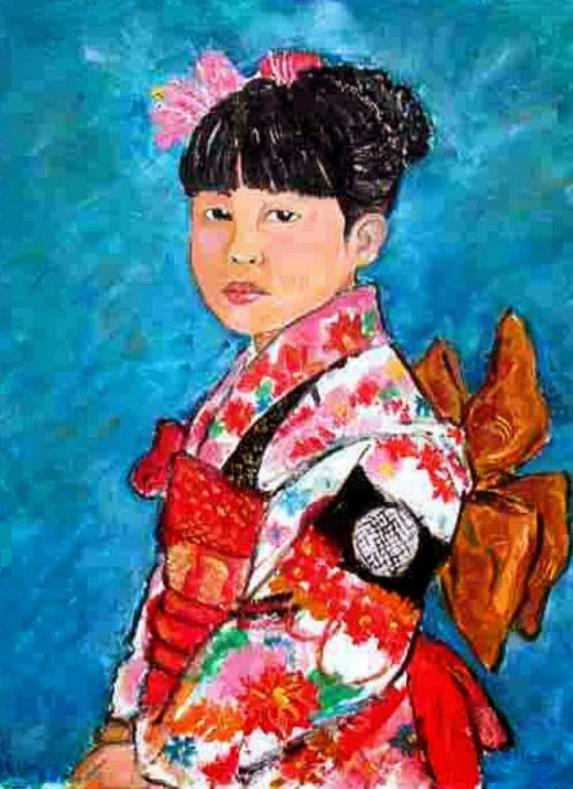 Oil Painting, Japanese girl, kimono