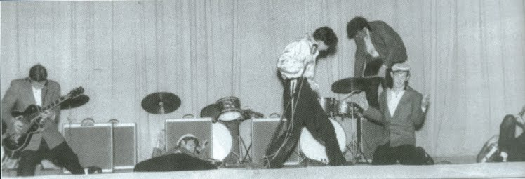 The wilds Gene Vincent and his Blue Caps on stage.1957