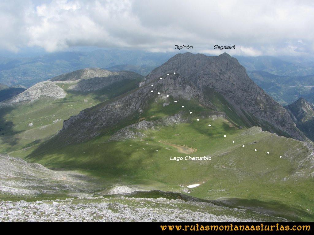 Ruta Tuiza Fariñentu Peña Chana: Camino entre Peña Chana y Cheturbio