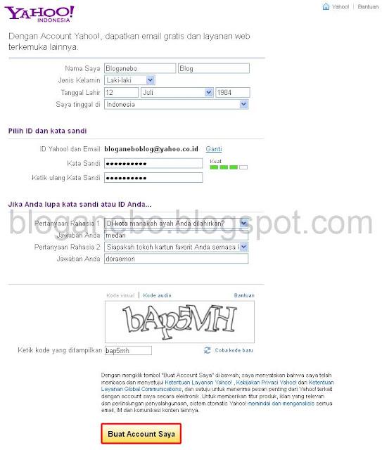 Langkah Kedua Membuat Email Baru di Yahoo