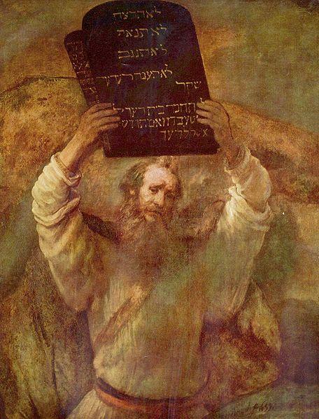 Moisés con las tablas de la Ley, por Rembrandt.