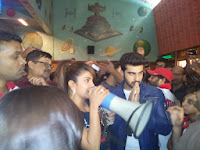 Priyanka, Ranveer and Arjun gave a pleasant surprise to the audience at Gaiety theatre during the interval!