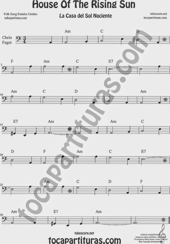 La Casa del Sol Naciente Partitura de Violonchelo y Fagot Sheet Music for Cello and Bassoon Music Scores