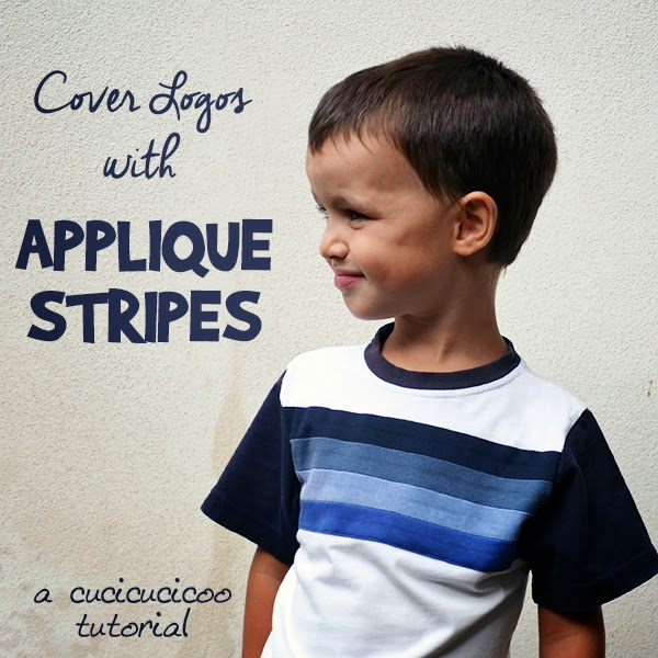 Refashioning Tutorial by Cucicucicoo: Cover Logos, Stains & Graphics with Applique Stripes