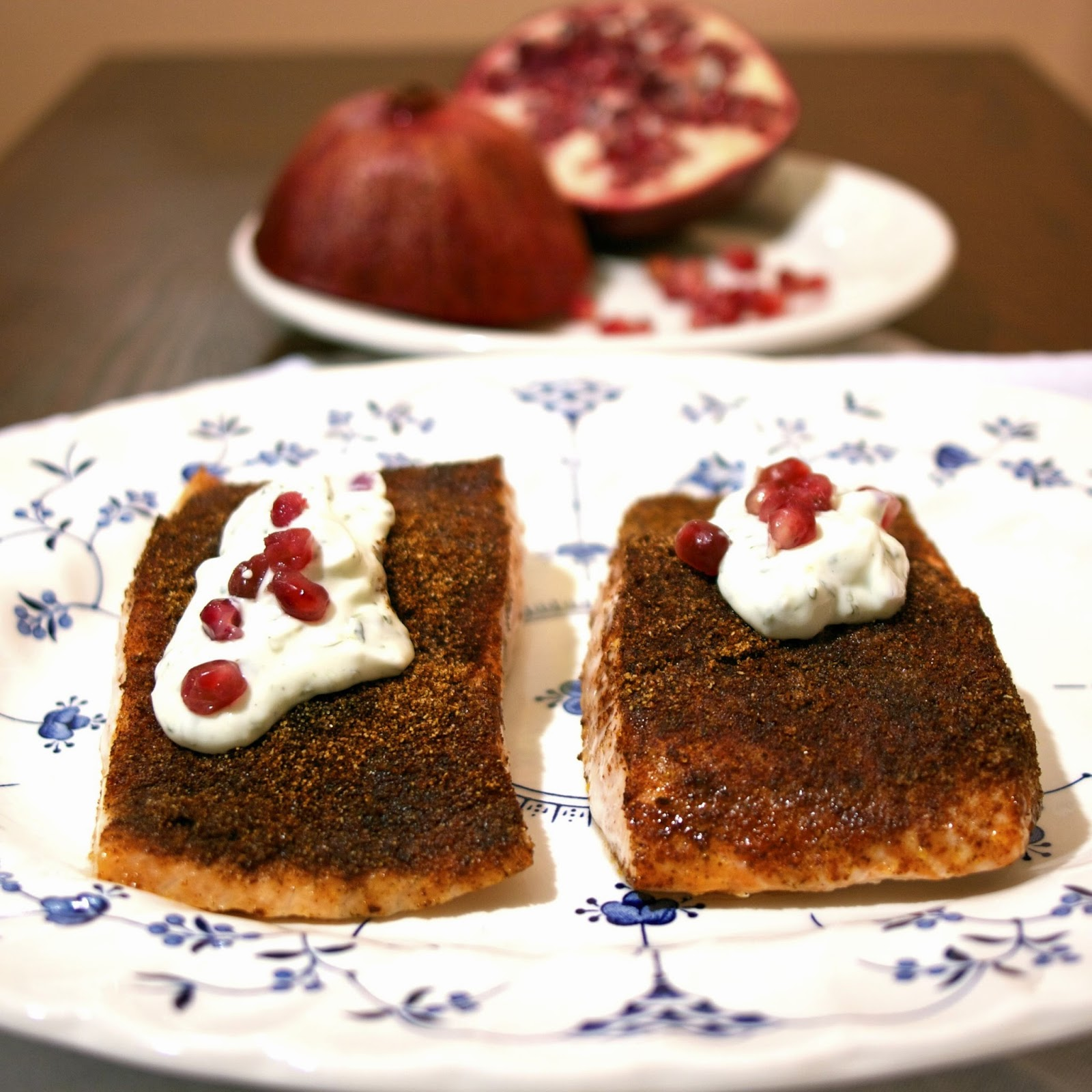 Spice-Rubbed Salmon with Pomegranate Raita- simplelivingeating.com