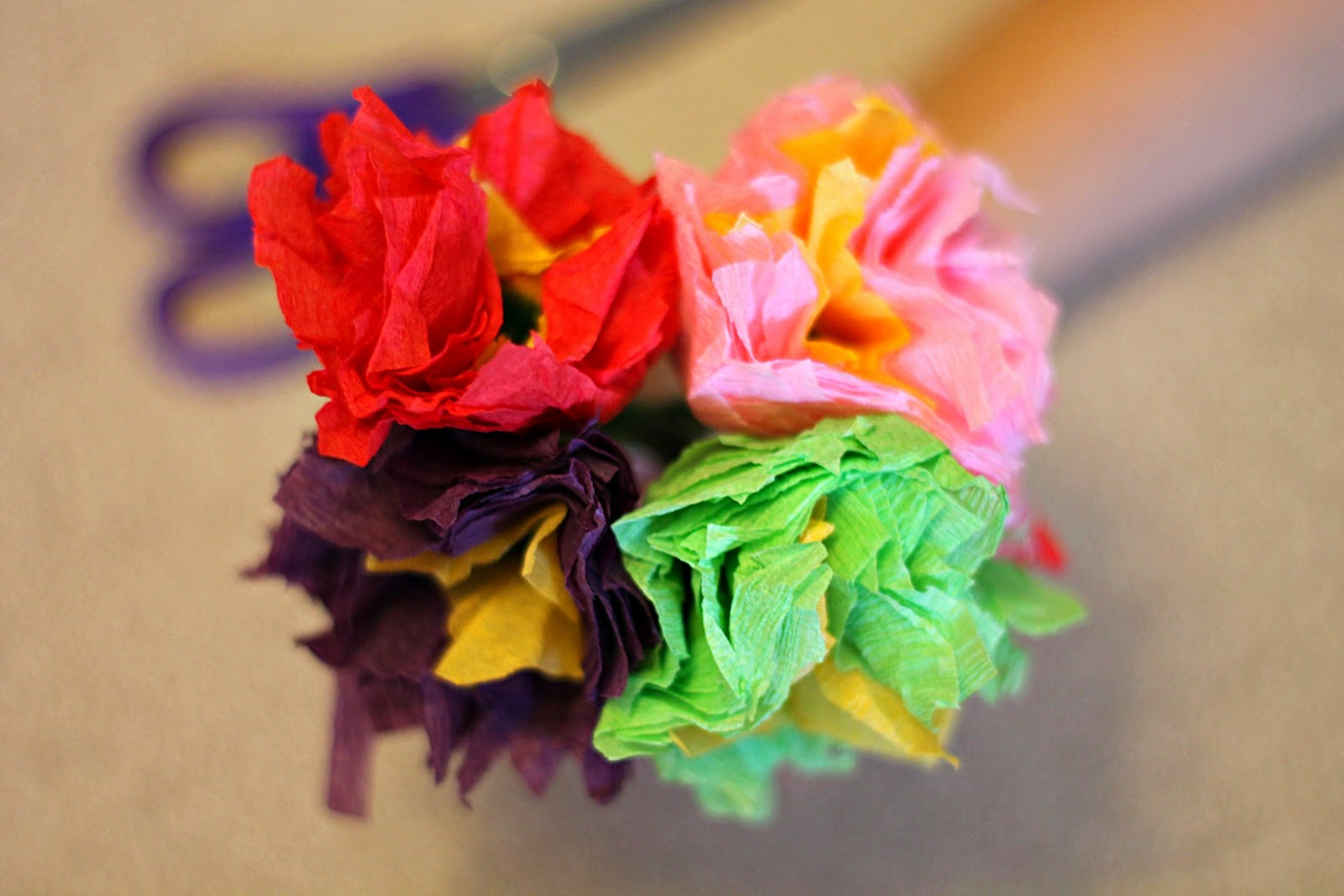 Keepin 2 boys busy tissue paper flowers small squares of tissue paper of various colours pipe cleaners for the stem one per flower scissors mightylinksfo Gallery
