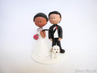 Topo de Bolo Noivinhos Noivo Cachorrinho Vasco Casamento