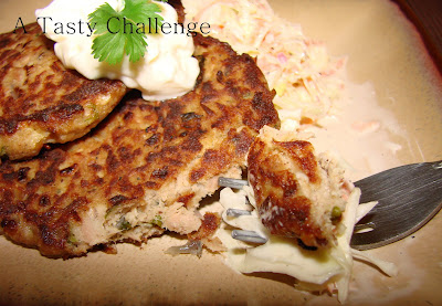 A Tasty Challenge Fish Tuna Cakes With Cabbage Salad