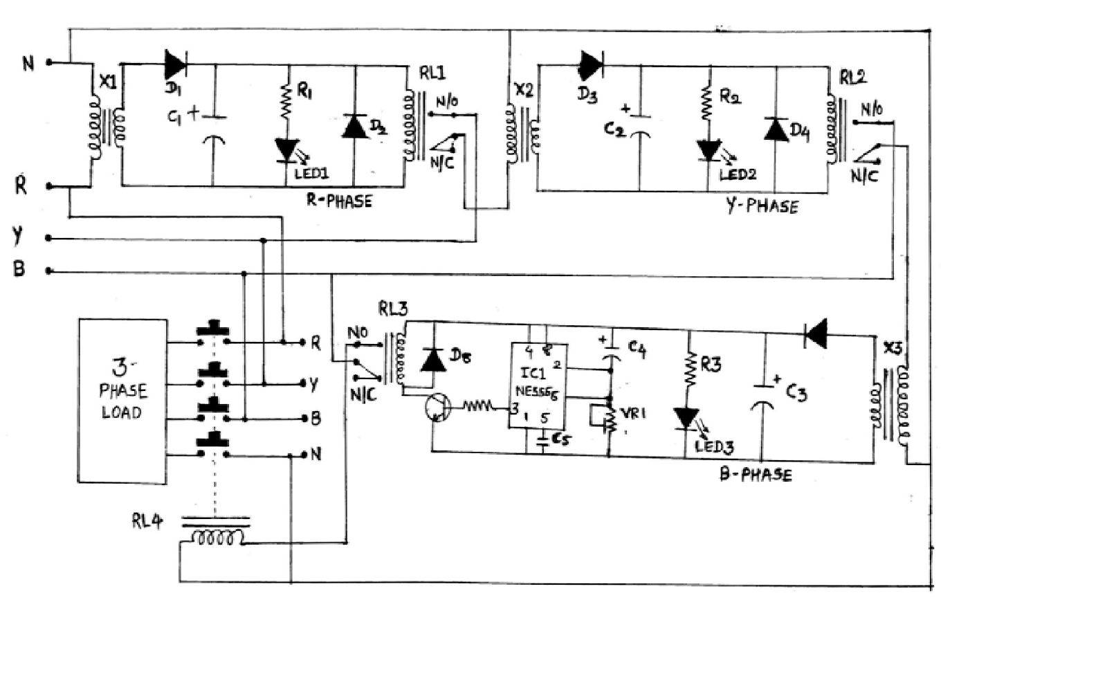 Load Protector Circuit Three Phase Appliance As We Give Supply To The Circuitr Passes Through Step Down Transformer X1 This Reduces Voltage 12v Ac