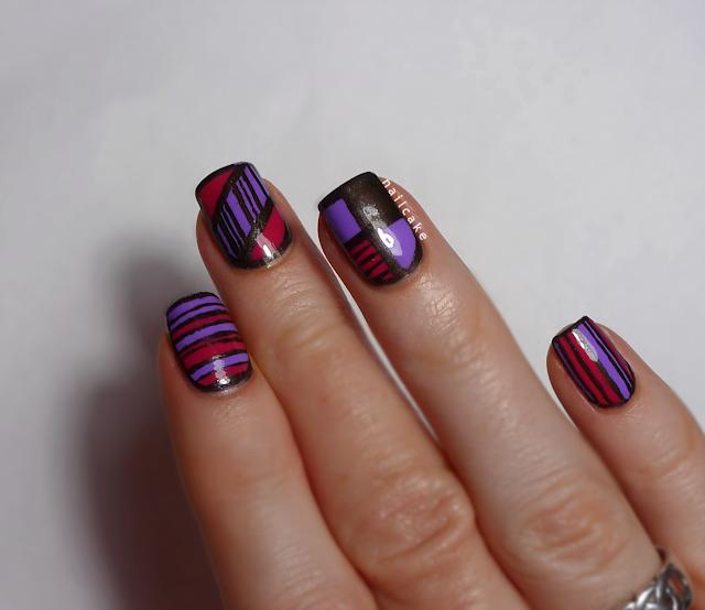 Nail art in mix & match geometric and striped designs, using Illamasqua Jo'Mina, Barry M Shocking Pink & 17 Smokey Marble