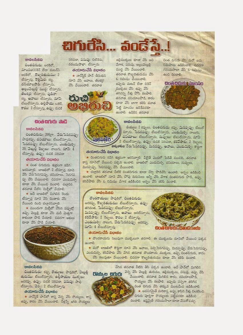 Various food dishes in telugu language food recipes with young food recipes with young shoots of tamarind forumfinder Image collections
