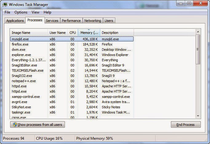 Download XAMPP Terbaru, mysqld Rakus Memori & Solusinya windows task manager