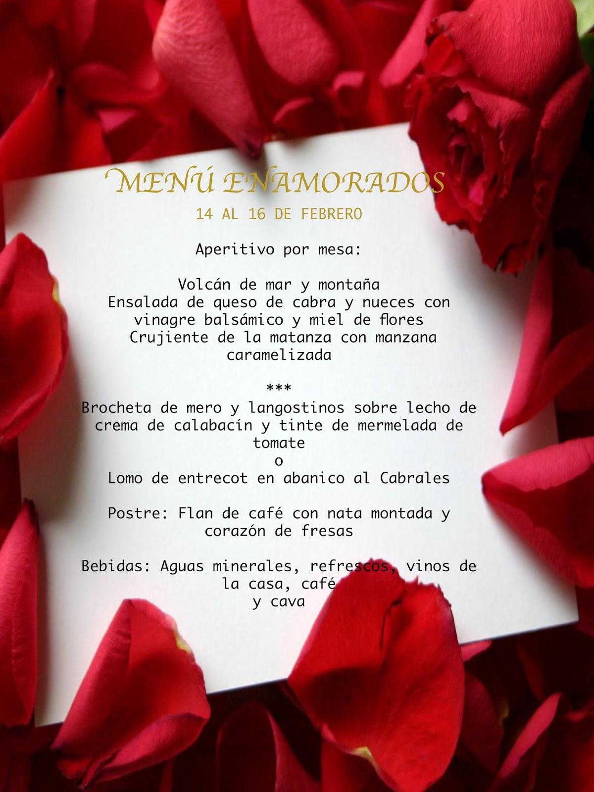 menu San Valentin Torrejon