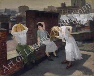 Sunday, Women Drying their Hair, John Sloan chose not to portray the moneyed classes popular with the 'genteel tradition' at the turn of the last century, but the unpretentious, yet picturesque, lower-middle class life of back-street New York.