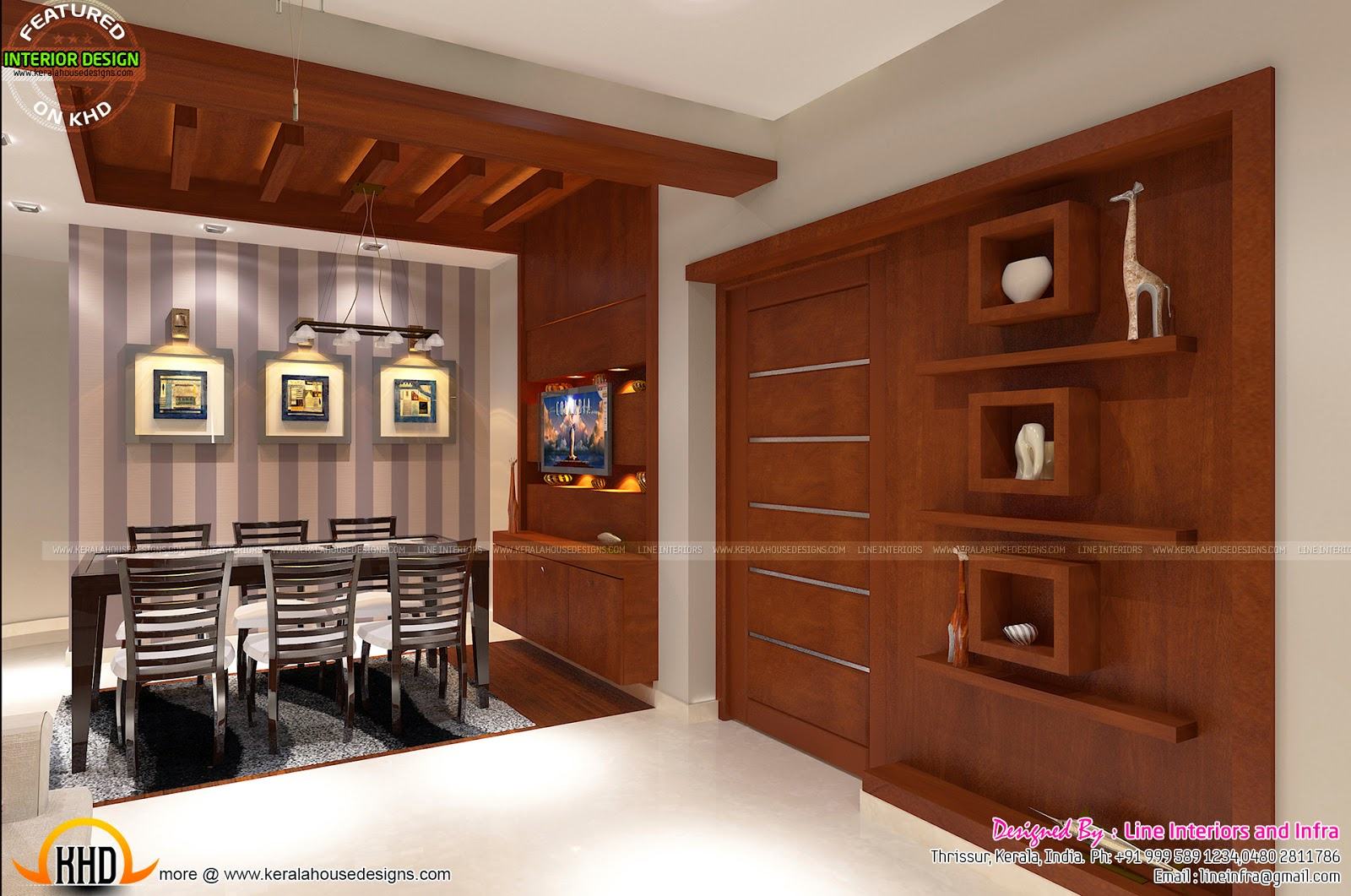 Interiors design by line interiors and infra kerala home for Interior designs kerala