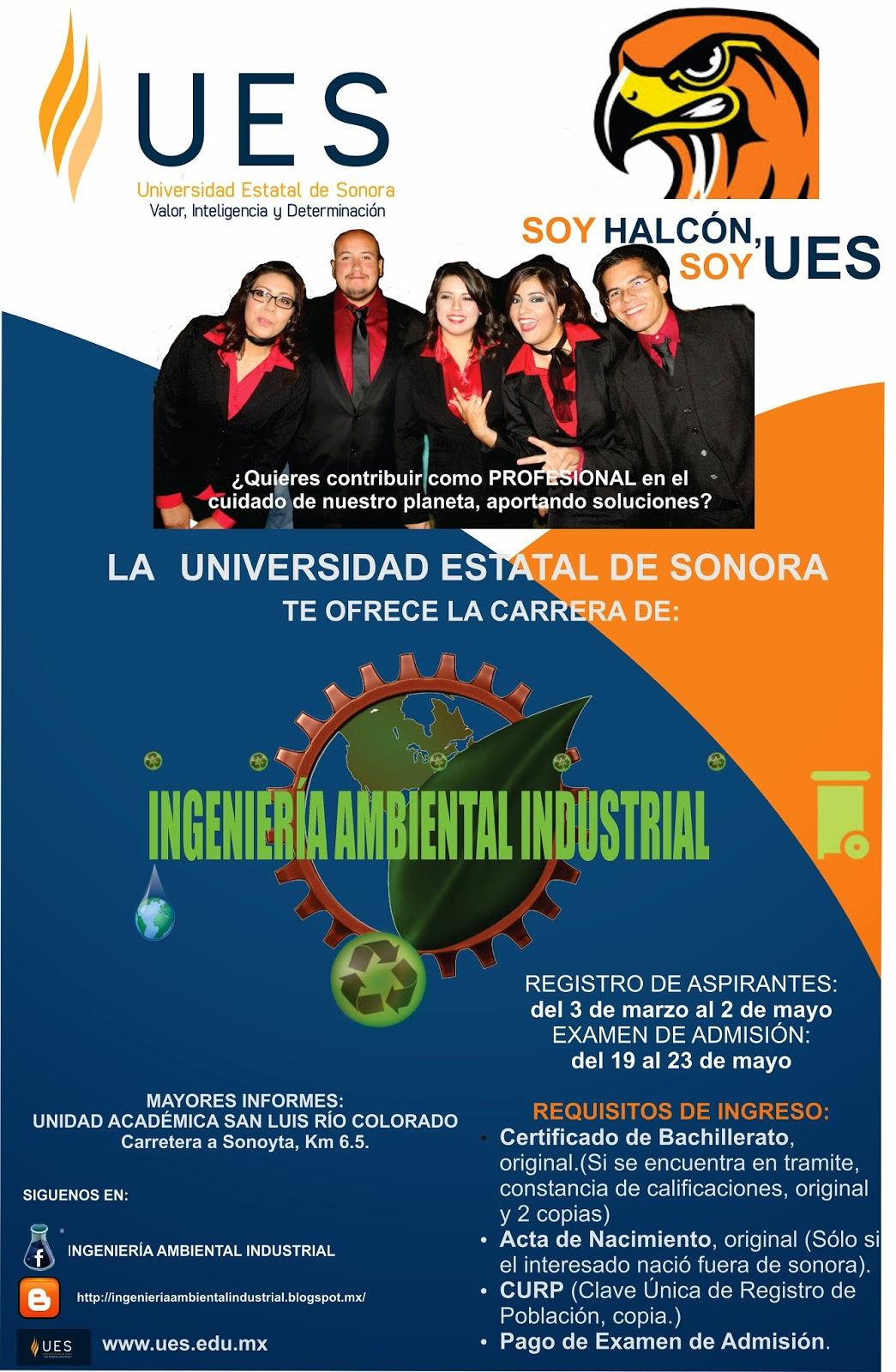 INGENIERIA AMBIENTAL INDUSTRIAL: REGISTRO DE ASPIRANTES 2014 A LA UES