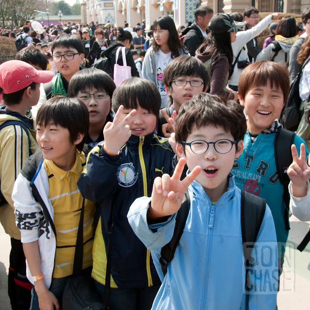 Korean elementary students at Everland near Seoul, South Korea.