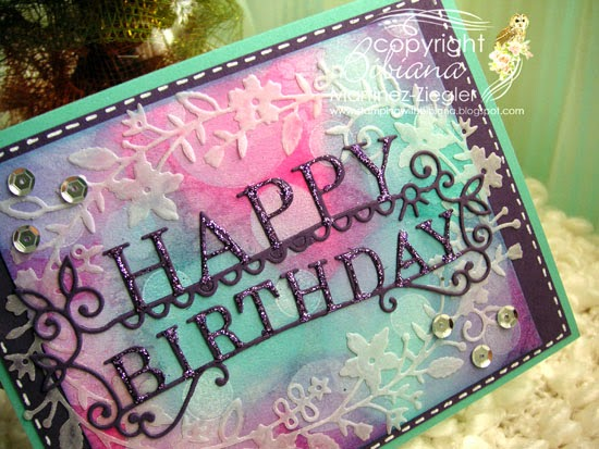 bokeh with distress inks happy birthday card side view