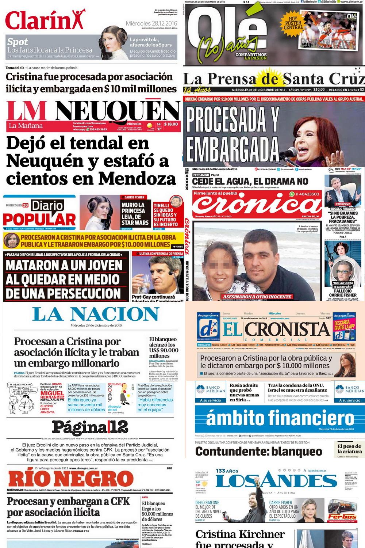 Tapas de los diarios Argentinos