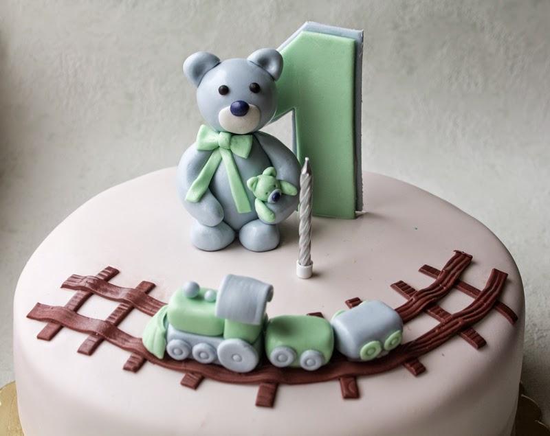 Tort urodzinowy Roczek Misio i Ciuchcia