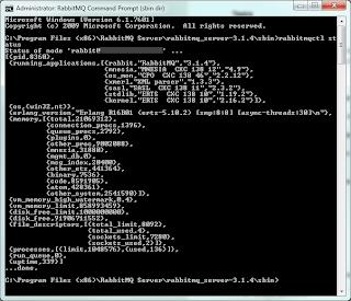 Sample 'rabbitmqctl status' output.