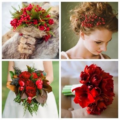 menyasszonyi csokor téli esküvőre piros vörös színben