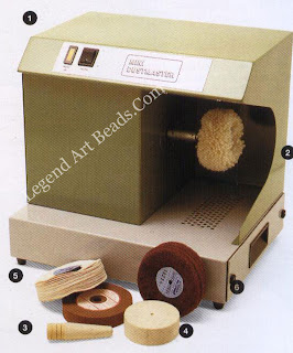 1 Polishing motor with built in extractor:  2 lambswool mop on machine for rouge polish:  3 felt cone for polishing inside a ring;  4 felt lap;  5 muslin mop: 6 abrasive mops.