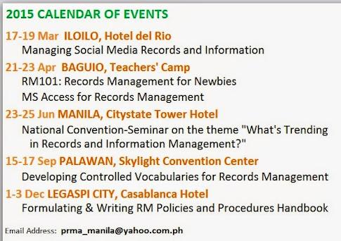 PRMA 2015 Training Calendar