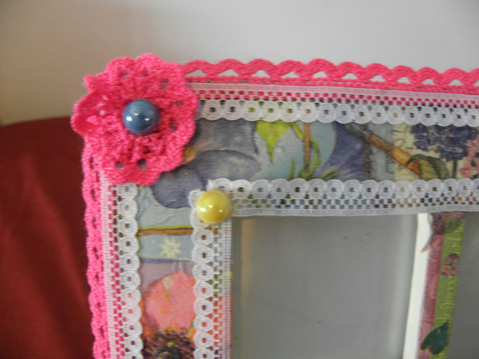 El olor de c diz flores marcos espejos cofres fimo for Espejos decorados con piedras