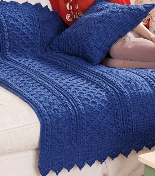 Basketweave Diamond Throw & Pillow - Free Pattern