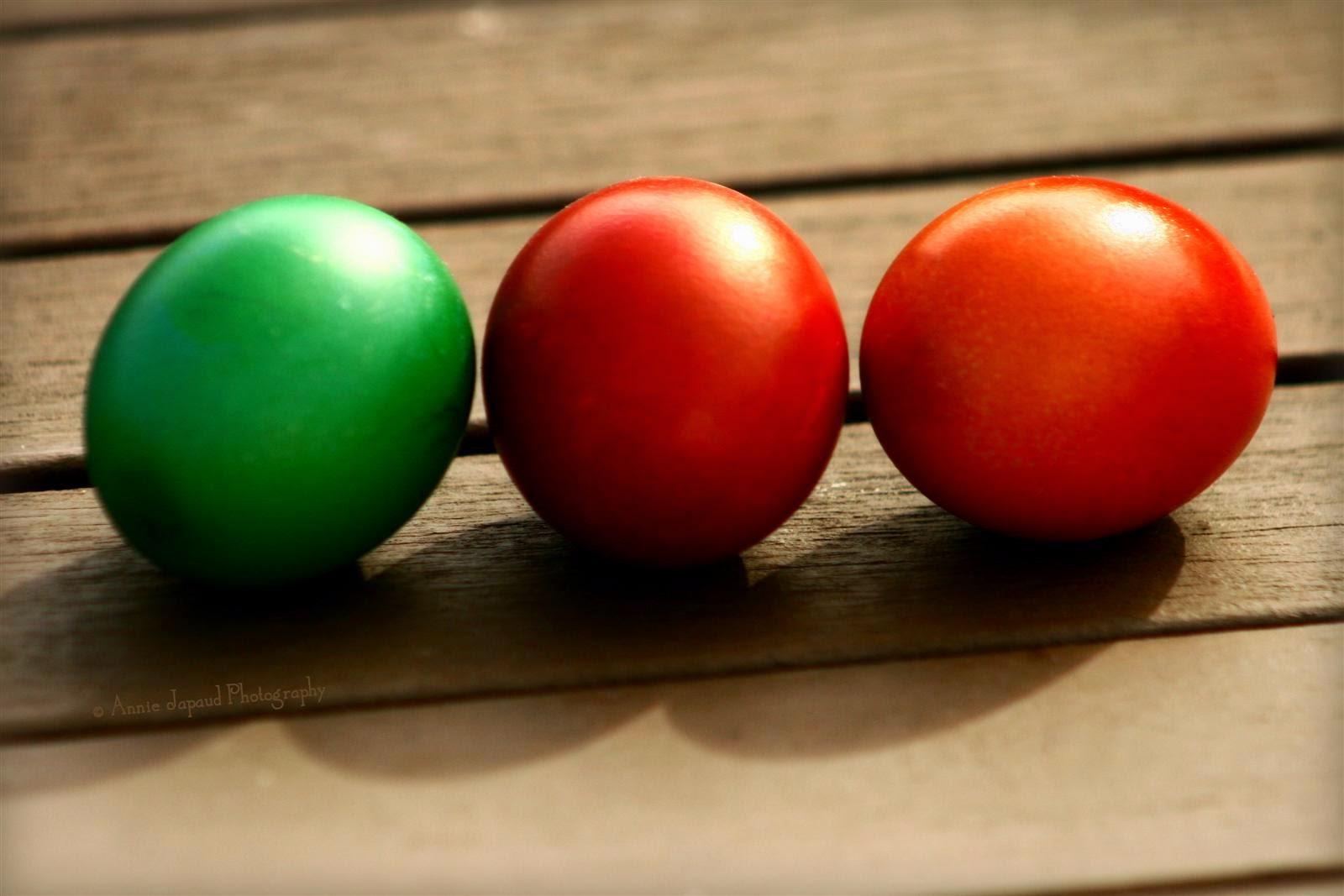 three coloured Easter eggs