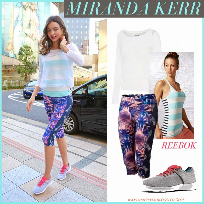 Miranda Kerr in white sheer Reebok cover up, stripe mint Reebok top, print capri pineapple Reebok leggings and grey pink sneakers reebok skyscape fuse want her style workout gym style april 2015