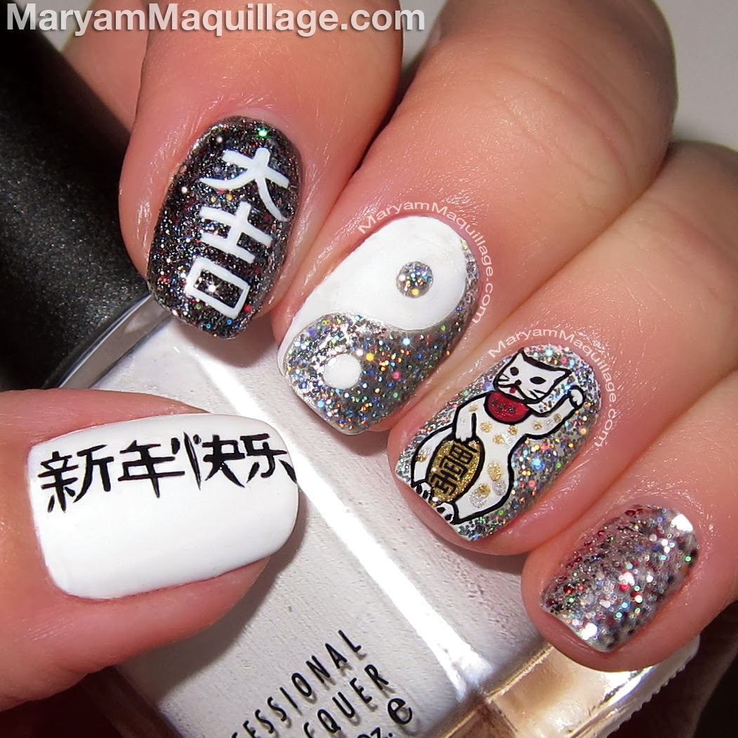 this nail art was hand painted by me using nail art liners and pens ...