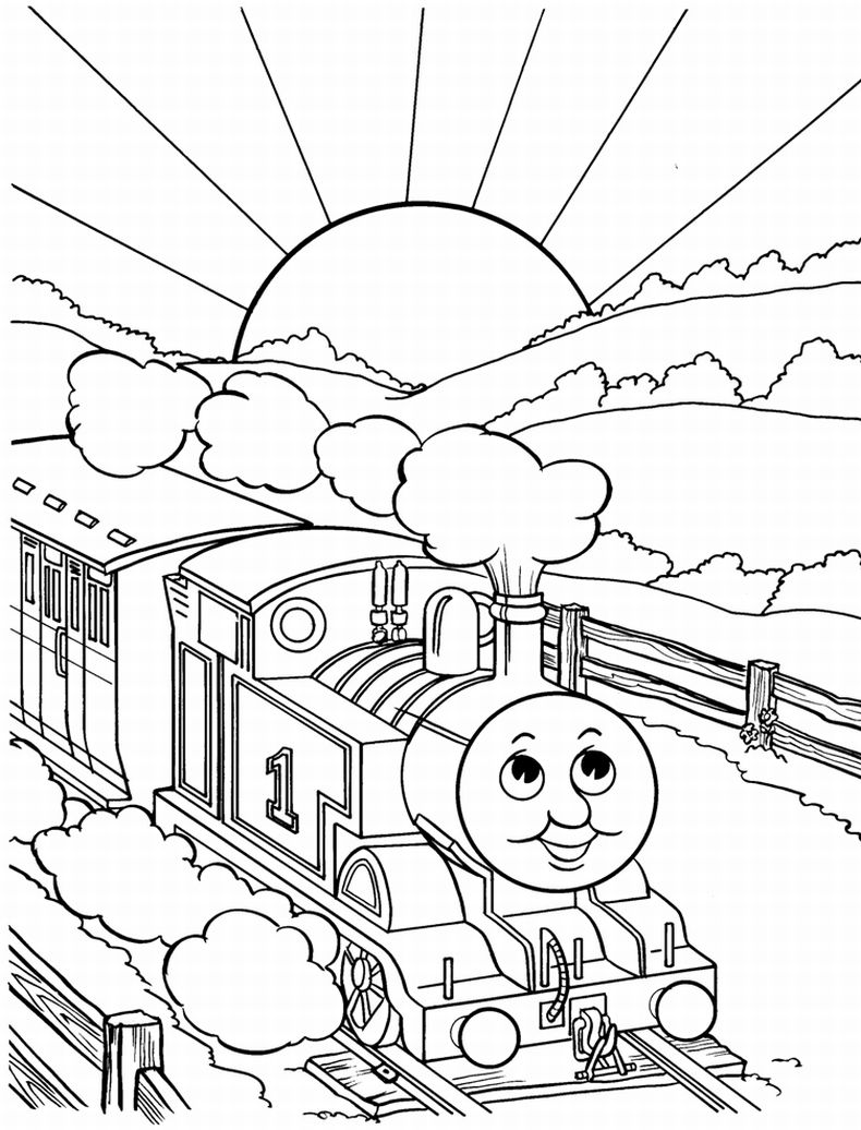 Thomas train coloring pages for Coloring page of a train